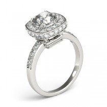 Cushion Cut Halo Diamond Engagement Ring 14k White Gold (1.34ct)