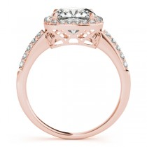Cushion Cut Diamond Halo Engagement Ring 14k Rose Gold (1.00ct)