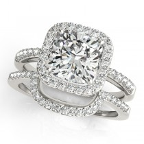 Cushion Cut Square Shape Diamond Halo Bridal Set 14k White Gold (1.17ct)