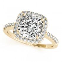 Cushion Cut Square Shape Diamond Halo Bridal Set 14k Yellow Gold (1.17ct)