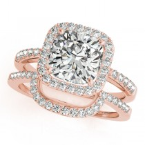 Cushion Cut Square Shape Diamond Halo Bridal Set 18k Rose Gold (1.17ct)