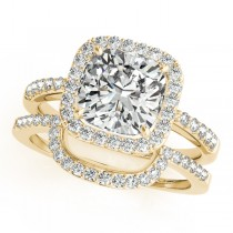 Cushion Cut Square Shape Diamond Halo Bridal Set 18k Yellow Gold (1.17ct)