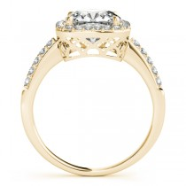 Cushion Cut Square Shape Diamond Halo Bridal Set 18k Yellow Gold (1.17ct)