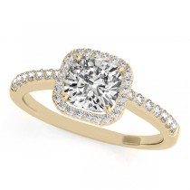 Cushion Cut Diamond Halo Engagement Ring 14k Yellow Gold (0.50ct)