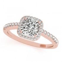 Cushion Cut Diamond Halo Engagement Ring 18k Rose Gold (0.50ct)