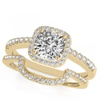 Cushion Cut Square Shape Diamond Halo Bridal Set 14k Yellow Gold (0.67ct)