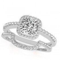Cushion Cut Square Shape Diamond Halo Bridal Set 18k White Gold (0.67ct)