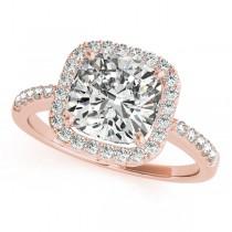 Cushion Cut Diamond Halo Engagement Ring 14k Rose Gold (1.50ct)