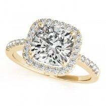 Cushion Cut Diamond Halo Engagement Ring 14k Yellow Gold (1.50ct)