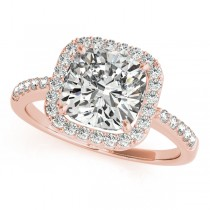 Cushion Cut Diamond Halo Engagement Ring 18k Rose Gold (1.50ct)