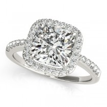Cushion Cut Diamond Halo Engagement Ring Platinum (1.50ct)