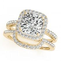 Cushion Cut Square Shape Diamond Halo Bridal Set 14k Yellow Gold (1.67ct)