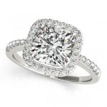Cushion Cut Square Shape Diamond Halo Bridal Set 18k White Gold (1.67ct)