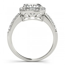 Cushion Cut Square Shape Diamond Halo Bridal Set 14k W. Gold 1.67ct