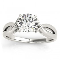 Solitaire Bypass Engagement Ring Setting 18k White Gold