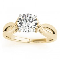 Solitaire Bypass Engagement Ring Setting 18k Yellow Gold