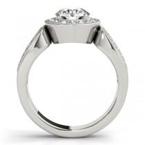 Art Deco Split Shank Diamond Halo Engagement Ring 14k White Gold 1.33ct
