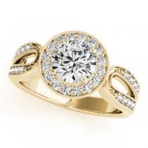 Art Deco Split Shank Diamond Halo Engagement Ring 14k Yellow Gold 1.33ct