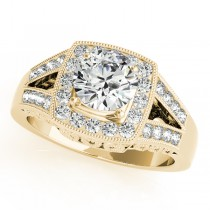 Split Shank Square Halo & Round Engagement Ring 14k Yellow Gold 1.58ct