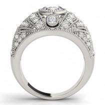 Diamond Antique Style Edwardian Engagement Ring 14K White Gold (0.71ct)