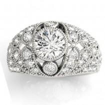 Diamond Antique Style Edwardian Engagement Ring Palladium (0.71ct)
