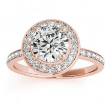 Diamond Halo Engagement Ring Setting 14K Rose Gold (0.29ct)