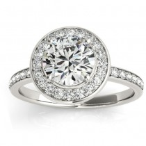 Diamond Halo Engagement Ring Setting 18K White Gold (0.29ct)