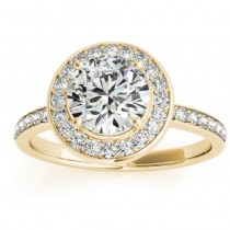 Diamond Halo Engagement Ring Setting 18K Yellow Gold (0.29ct)