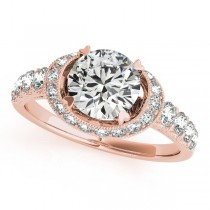 Diamond Frame Engagement Ring with Side Stones 14k Rose Gold 1.64ct