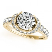 Diamond Frame Engagement Ring with Side Stones 14k Yellow Gold 1.64ct