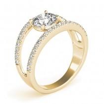 Round Diamond Split Shank Engagement Ring 14K Yellow Gold (0.69ct)