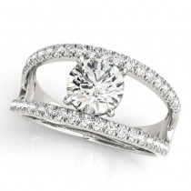 Round Diamond Split Shank Engagement Ring 18K White Gold (0.69ct)
