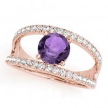 Round Amethyst Split Shank Engagement Ring 14K Rose Gold 0.59ct