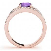 Amethyst Split Shank Engagement Ring 18K Rose Gold (0.59ct)