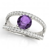 Amethyst Split Shank Engagement Ring 18K White Gold (0.59ct)
