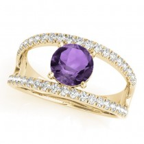 Amethyst Split Shank Engagement Ring 18K Yellow Gold (0.59ct)