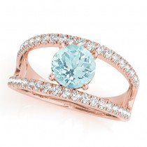 Aquamarine Split Shank Engagement Ring 14K Rose Gold (0.64ct)