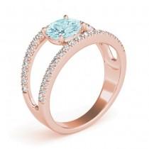 Aquamarine Split Shank Engagement Ring 14K Rose Gold (0.64ct)