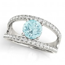 Aquamarine Split Shank Engagement Ring 14K White Gold (0.64ct)