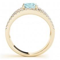 Aquamarine Split Shank Engagement Ring 14K Yellow Gold (0.64ct)