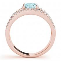 Aquamarine Split Shank Engagement Ring 18K Rose Gold (0.64ct)
