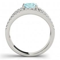 Aquamarine Split Shank Engagement Ring 18K White Gold (0.64ct)