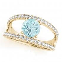 Round Aquamarine Split Shank Engagement Ring 18k Yellow Gold 0.64ct