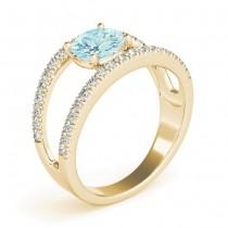 Aquamarine Split Shank Engagement Ring 18K Yellow Gold (0.64ct)