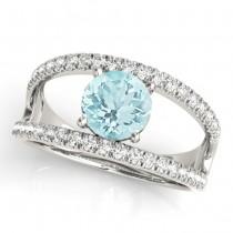 Round Aquamarine Split Shank Engagement Ring 18k Platinum 0.64ct