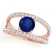 Blue Sapphire Split Shank Engagement Ring 14K Rose Gold (0.84ct)