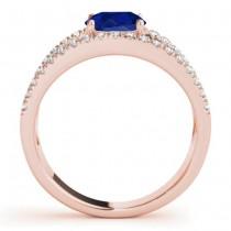 Blue Sapphire Split Shank Engagement Ring 14K Rose Gold (0.84ct)