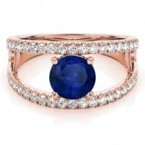 Blue Sapphire Split Shank Engagement Ring 18K Rose Gold (0.84ct)