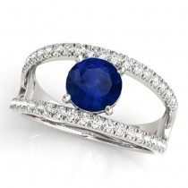 Blue Sapphire Split Shank Engagement Ring 18K White Gold (0.84ct)