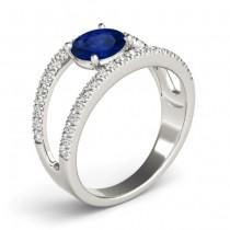 Blue Sapphire Split Shank Engagement Ring 18K White Gold (0.84ct)